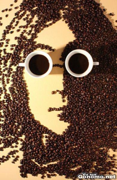 Un beau portrait de John Lennon des Beatles avec des grains de cafe