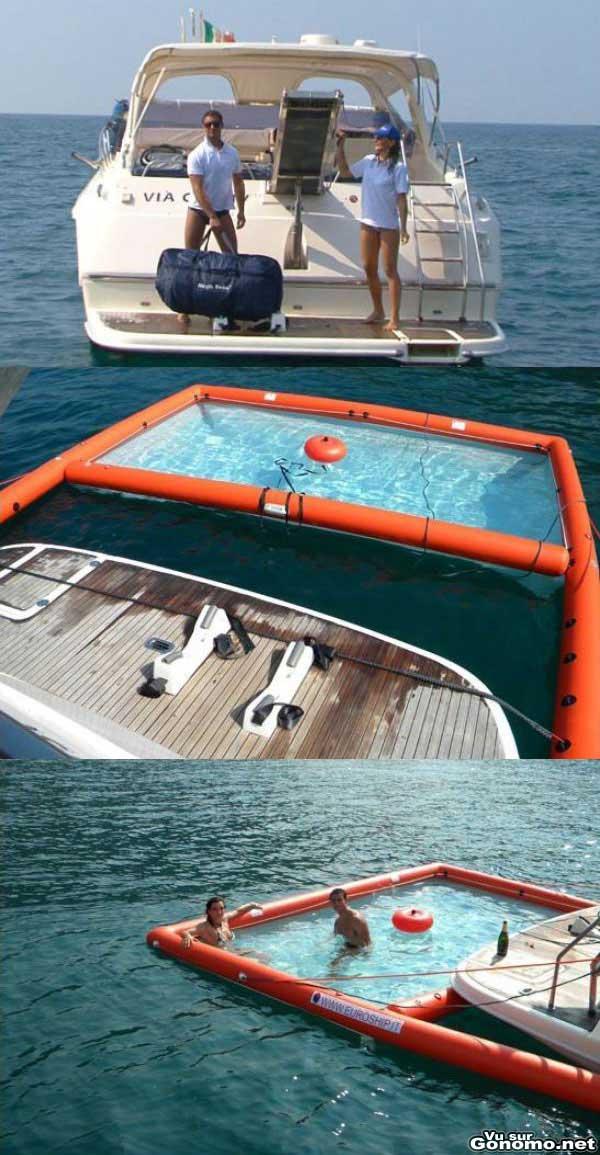 Accessoire bateau se baigner en pleine mer dans une piscine gonflable accro - Bateau gonflable mer ...