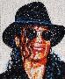 Un portrait de Mchael Jackson realise avec des pilules de toutes les couleurs
