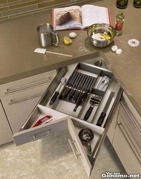 Tiroir d angle pour la cuisine pratique ce tiroir qui a for Tiroir angle cuisine