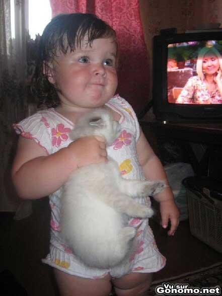 Le pauvre petit chat dans les main d une petite fille