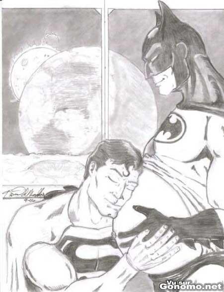 Dessin de Batman enceinte de superman ! Wtf ??