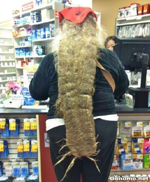 Il ou elle, semble avoir un animal mort dans le dos. Ah non c est ses cheveux en fait ...