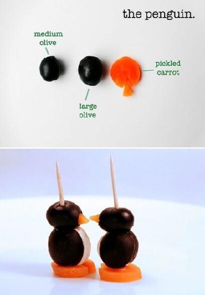 Decoration apero sympatique : comment faire des pingouins avec des olives et des carottes