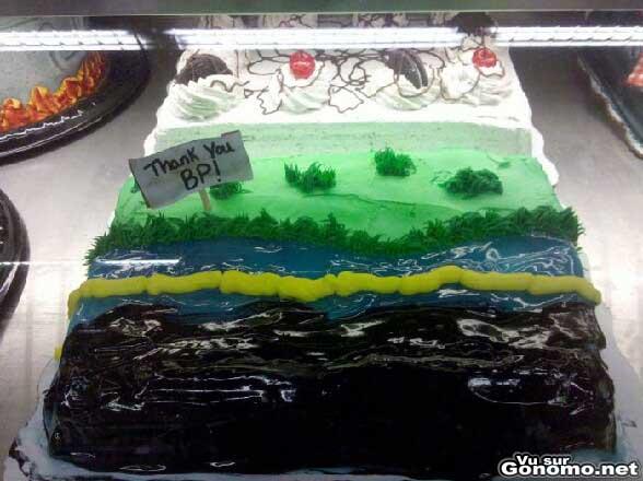 Un gateau original remerciant BP pour la maree noire qu il a provoque ...