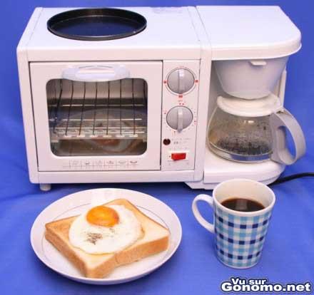 Une machine a cafe et un micro ondes reunis dans une meme machine