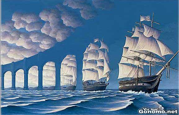 Les navires, un pont entre terre et terre. C est peut etre ca le message ?