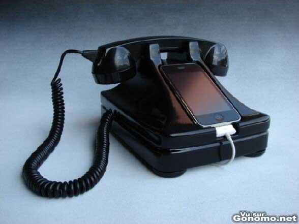 Telephone vintage avec un iPhone pour les indonditionels du telephone a l ancienne