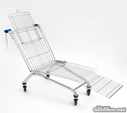 Transat fait maison : une chaise longue fabriquee avec un caddie de supermache