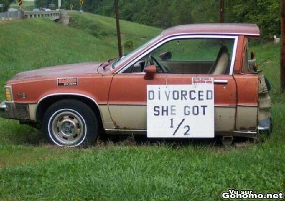 Sa femme a obtenu la moitie de sa voiture apres le divorce :)