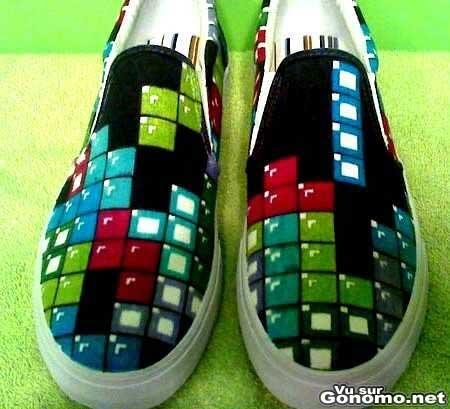 Des bonnes chaussures de Geek aux motifs Tetris