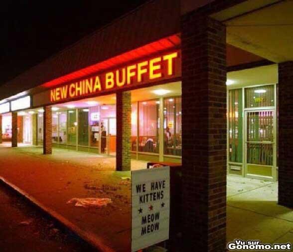 Restaurant chinois : nous avons des chats au menu ! Meow Meow :p