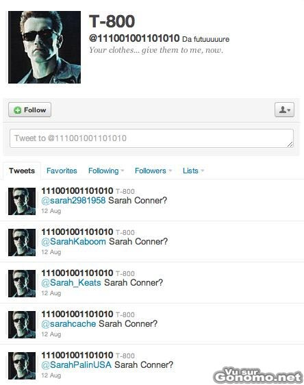 Terminator un bot sur Twitter fait visiblement chier toutes les Sarah du web !