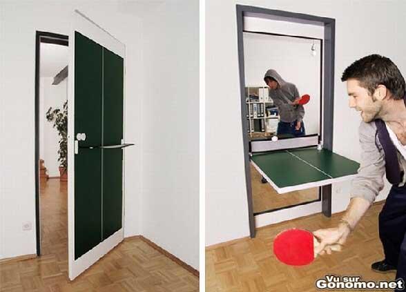 Une porte qui se transforme en table de ping pong d interieur