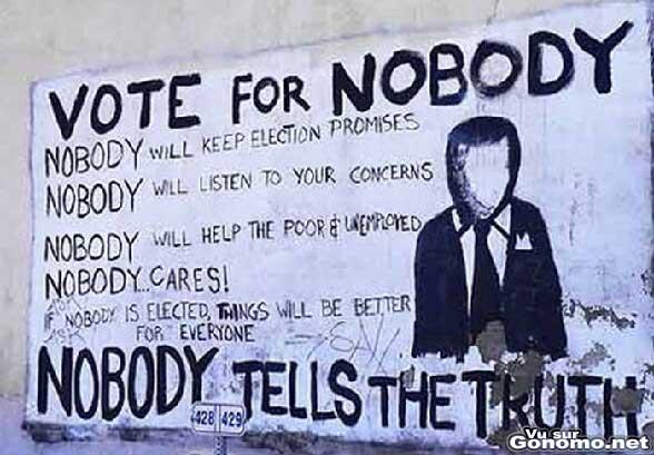 Votez pour personne car personne ne dit la verite