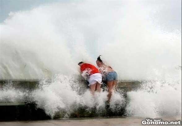 Elles se prennent une vague en pleine gueule !