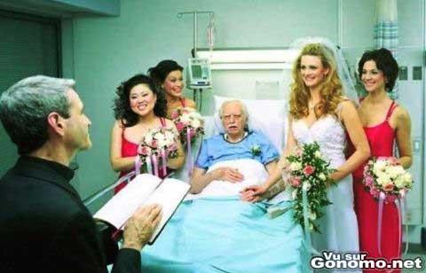 Une femme venale en train de se marier a un vieillard sur son lit d hopital :p