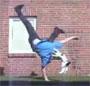 Un chat saute sur son maitre pendant qu il fait de la break dance ! lol