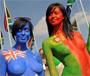 Bodypainting Peta : des filles nues pour Peta, peintes aux couleurs des drapeaux de leurs pays
