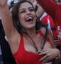 Larissa Riquelme, la supportrice de charme du Paraguay a fond lors du match Paraguay - Japon