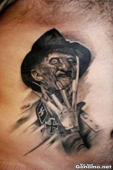 Freddy krueger plus vrai que nature en tatoo sur la - Personnage film horreur ...